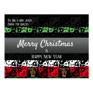 Personalized Chic Ugly Holiday Greeting Postcard