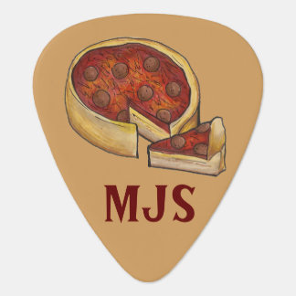 Personalized Chicago Deep Dish Pepperoni Pizza Guitar Pick