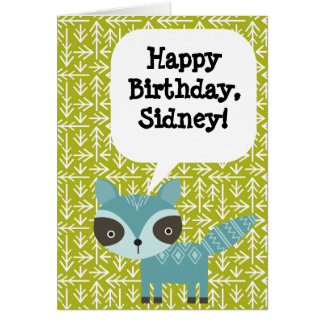 Personalized Children's Birthday Card Blue Raccoon