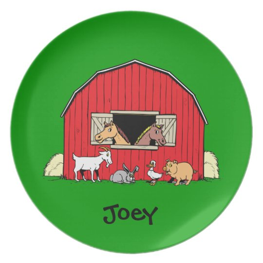 Personalized Child's Barn and Animals Plate