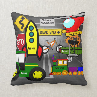 Personalized Child's Dream Garage Reversible Throw Pillow