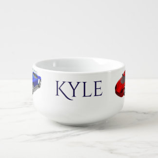 Personalized Child's  Race Cars Themed Soup Mug