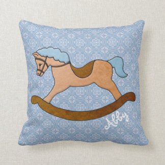 Personalized Child's Rocking Horse on Light Blue Throw Pillow