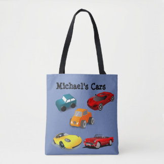 "Personalized Child's ""Toy Cars"" Blue Bag"