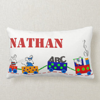 Personalized Childs Train & Mice PILLOW
