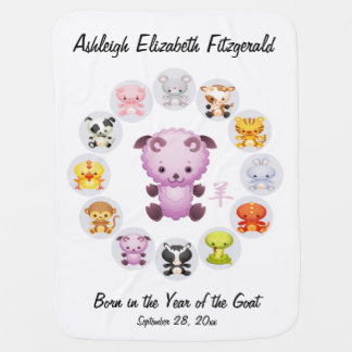 Personalized Chinese Zodiac Year of the Goat Round Swaddle Blanket