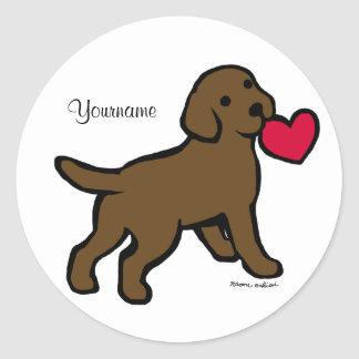 Personalized Chocolate Lab Puppy and Red Heart Classic Round Sticker