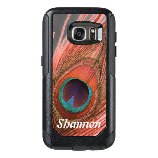 Personalized Choose Background Red Peacock Feather OtterBox Samsung Galaxy S7 Case
