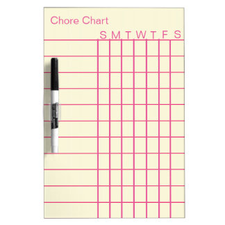 Personalized Chore Chart List Stripes Weekly White Dry Erase Board