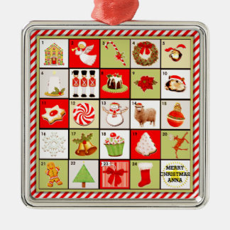 personalized Christmas Advent Calendar gift Metal Ornament