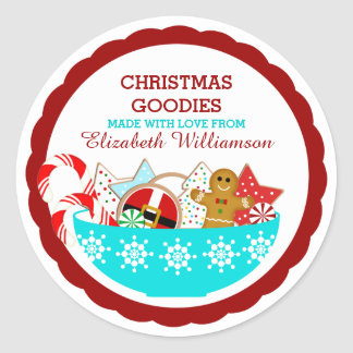 Personalized Christmas Baked Goods Round Sticker