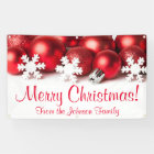 Personalized Christmas Banner Red Tree Ornaments