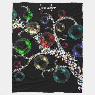 Personalized Christmas Baubles Fleece Blanket