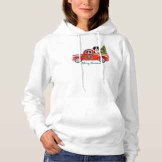 Personalized Christmas Berner Dogs Red Truck Hoodie