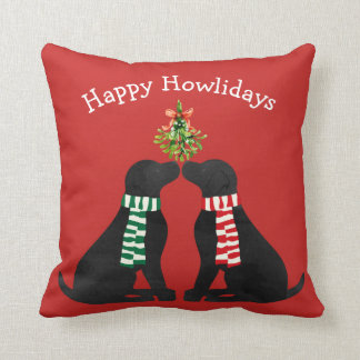 Personalized Christmas Black Labs Mistletoe Red Throw Pillow