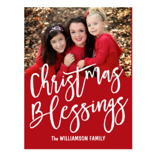Personalized Christmas Blessings Family Photo Postcard