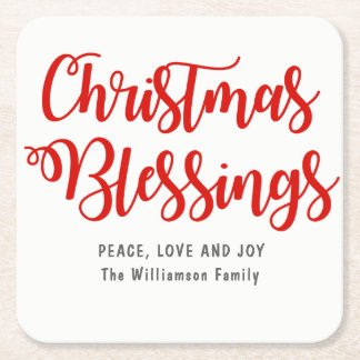 Personalized Christmas Blessings Red and White Square Paper Coaster