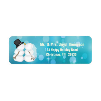 Personalized Christmas Bride and Groom Return Address Label