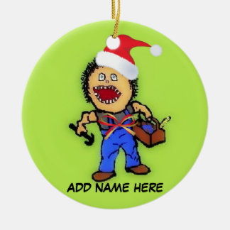 Personalized Christmas Builder Ceramic Ornament