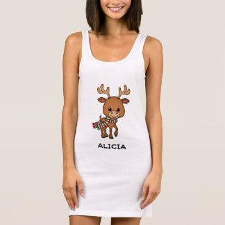 Personalized Christmas Cartoon Deer Sleeveless Dress