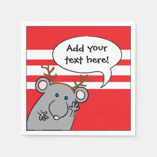 """Personalized Christmas Cocktail Napkins """"Mouse"""" Paper Napkins"""