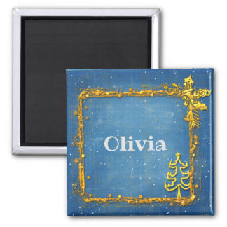 Personalized Christmas Gold Frame with Name Magnet