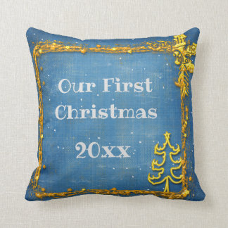 Personalized Christmas Gold Frame with Name Throw Pillow