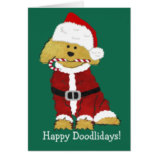 Personalized Christmas Goldendoodle Santa Claus Card