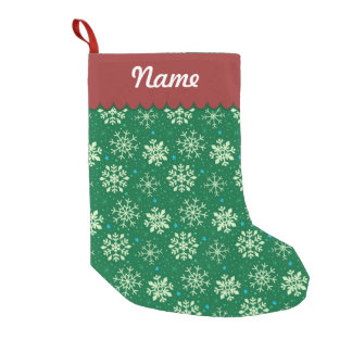 Personalized Christmas Green Snowflake Pattern Small Christmas Stocking