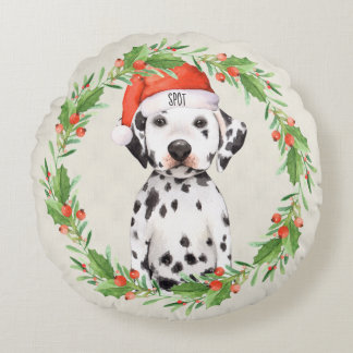 Personalized Christmas Holiday Dalmatian Round Pillow