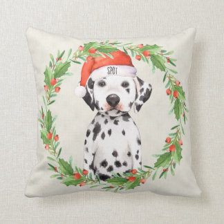 Personalized Christmas Holiday Dalmatian Throw Pillow