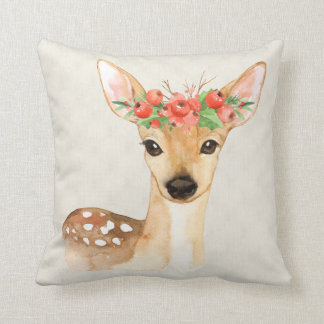 Personalized Christmas Holiday Deer Throw Pillow