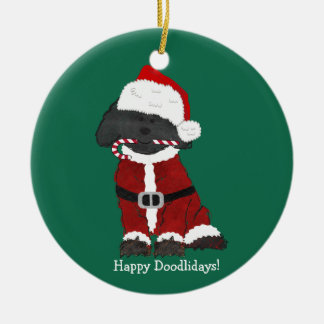 Personalized Christmas Labradoodle Santa Claus Ceramic Ornament