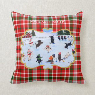 Personalized Christmas Labrador Ice Skating Throw Pillow