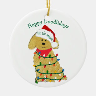 personalized christmas lights goldendoodle ceramic ornament - Goldendoodle Christmas Decorations