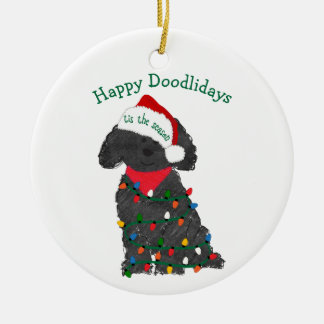 Personalized Christmas Lights Labradoodle Ceramic Ornament