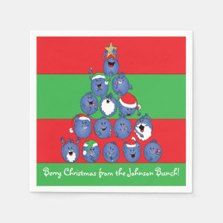 "Personalized Christmas Napkins ""Berry Christmas"" Paper Napkins"