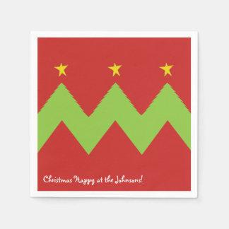 """Personalized Christmas Napkins """"Chevron Trees"""" Disposable Napkin"""