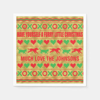 "Personalized Christmas Napkins ""FurryChristmas"" Disposable Napkin"