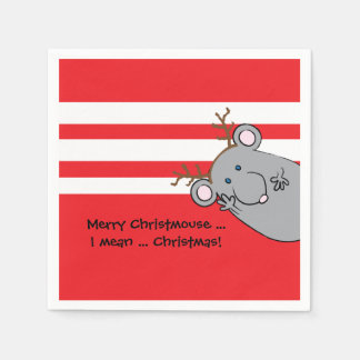 "Personalized Christmas Napkins ""Merry Christmouse"" Disposable Napkin"