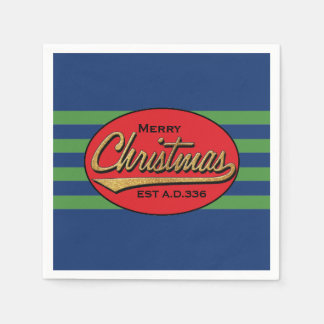 "Personalized Christmas Napkins ""Retro Christmas"" Disposable Napkins"