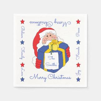 "Personalized Christmas Napkins ""Sanata Claus"" Paper Napkin"