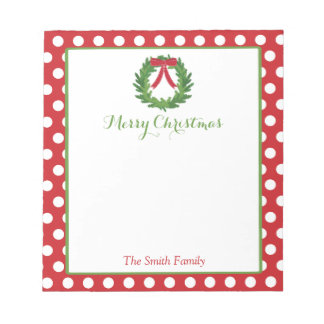Personalized Christmas Notepad | Holiday Wreath