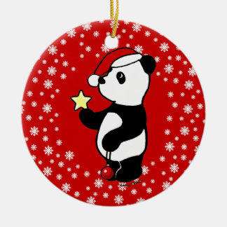 Personalized Christmas Panda Stocking Ceramic Ornament