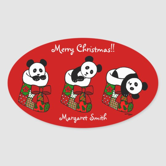 Personalized Christmas Panda Stocking Oval Sticker