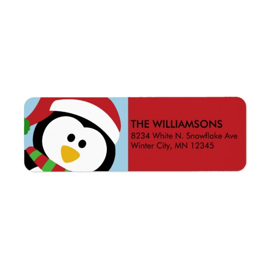 Personalized Christmas Penguin Address Labels