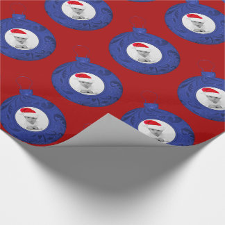 Personalized Christmas Photo Red Blue Custom Wrapping Paper