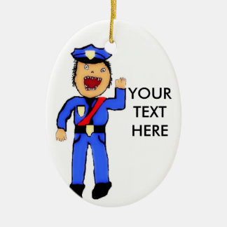 Personalized Christmas Policemen Ceramic Oval Ornament