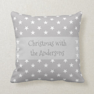 Personalized Christmas stars gray Throw Pillow