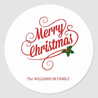 Personalized Christmas Sticker or Envelope Seal